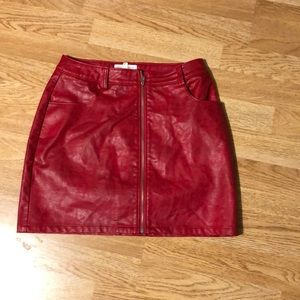 Red pleather mini skirt